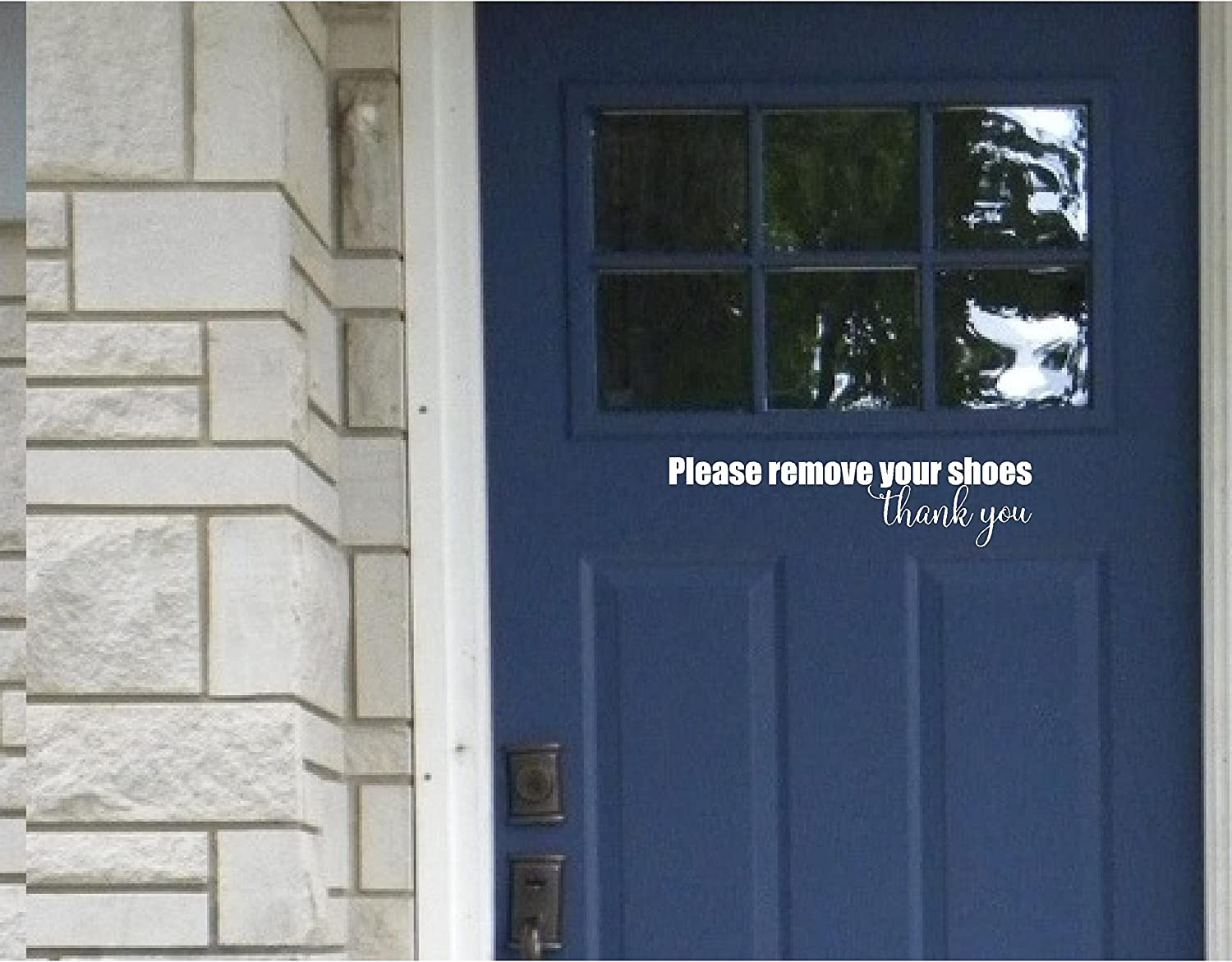 Front Door Sticker - Please Remove Your Shoes Thank You - Wall Sayings Vinyl Decals Art (White)