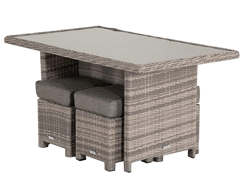 Grey Rattan Garden Corner Dining Set with Riviera Chair Outdoor Patio Furniture