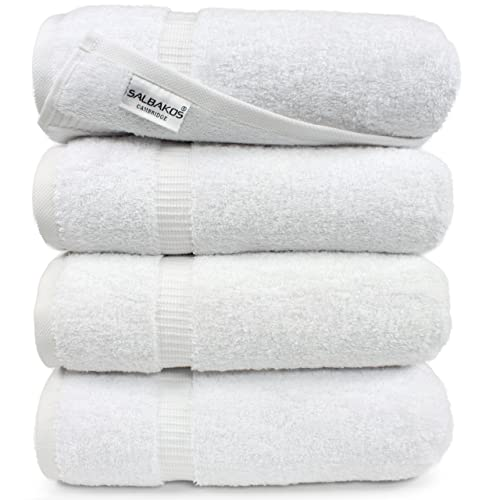 SALBAKOS Luxury Hotel And Spa Bath Towels 100 Percent Genuine Turkish Cotton 4 Piece Eco