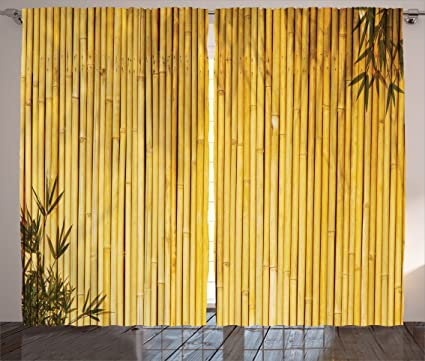 Ambesonne Bamboo Decor Curtains, Tall Bamboo Stems And Leaves Oriental  Nature Wood Image Natural Zen