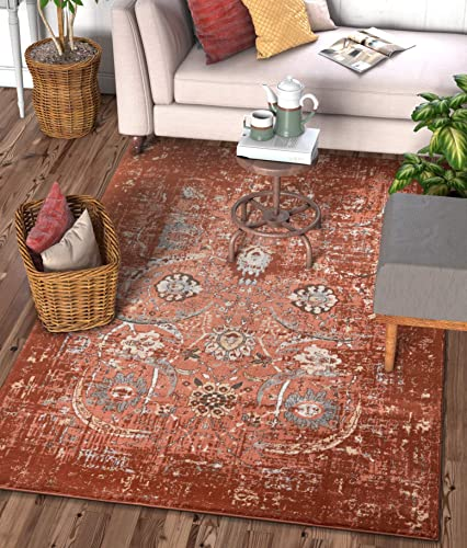 Well Woven Elle Copper Persian Vintage Shiraz 4×6 3 11 x 5 7 Area Rug Red Distressed Rust Modern Oriental Carpet