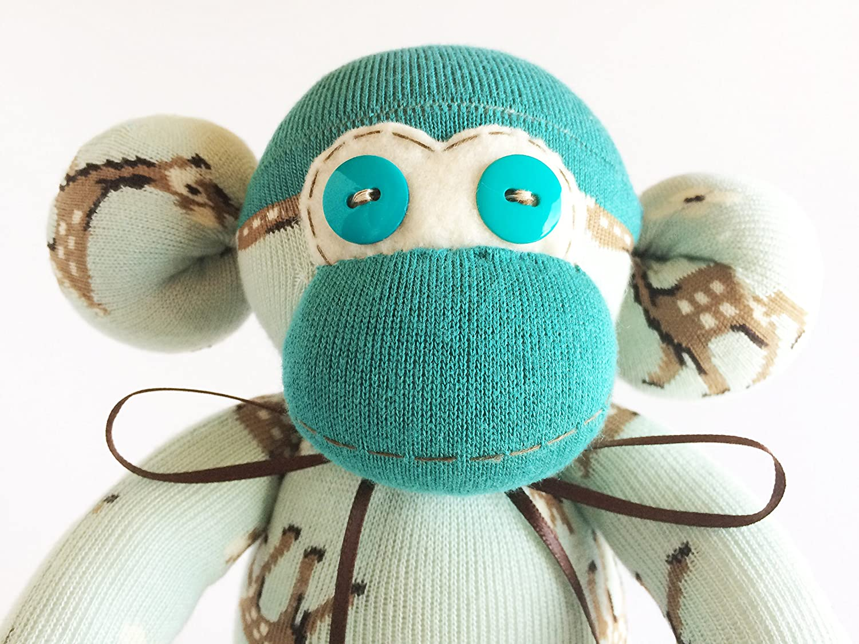 Unisex Sock Monkey Deer Print Deer Stuffed Animal Monkey Stuffed Animal Teal Sock Monkey Blue Monkey Plush Blue Sock Monkey
