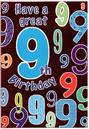Childrens Birthday Card For Nine 9 Year Old Boy