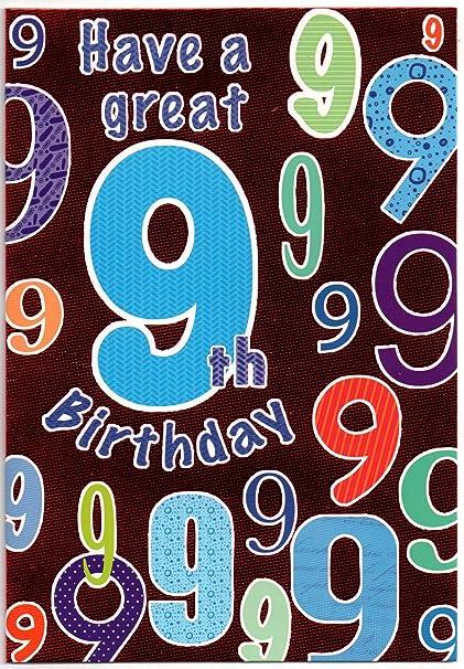 Tarjeta de cumpleaños para niños y niñas de 9 años, en ...