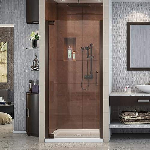 DreamLine Elegance 27-29 in. W x 72 in. H Frameless Pivot Shower Door in Oil Rubbed Bronze, SHDR-4127720-06