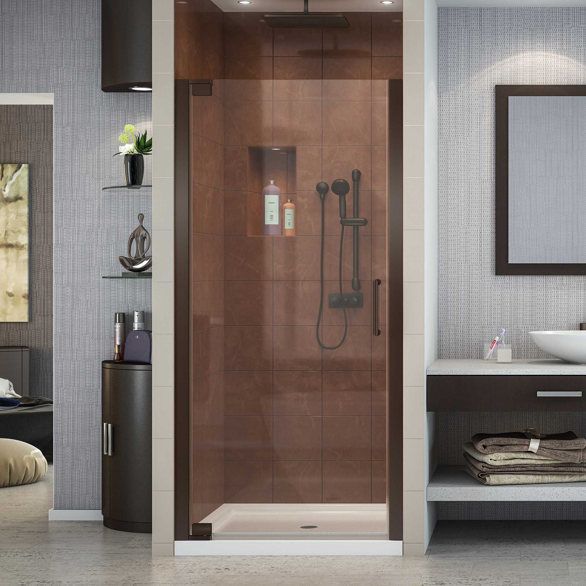 DreamLine Elegance 34-36 in. Width, Frameless Pivot Shower Door, 3/8'' Glass, Oil Rubbed Bronze Finish by DreamLine
