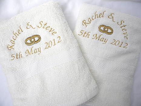 Juego de toallas personalizables bordadas blancas 2 sábanas de baño gigantes boda aniversario algodón egipcio