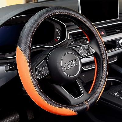 Labbyway New Microfiber Leather Steering Wheel Covers, Breathable, Anti-Slip, Odorless,Universal 15 inch (Orange): Automotive [5Bkhe0101164]