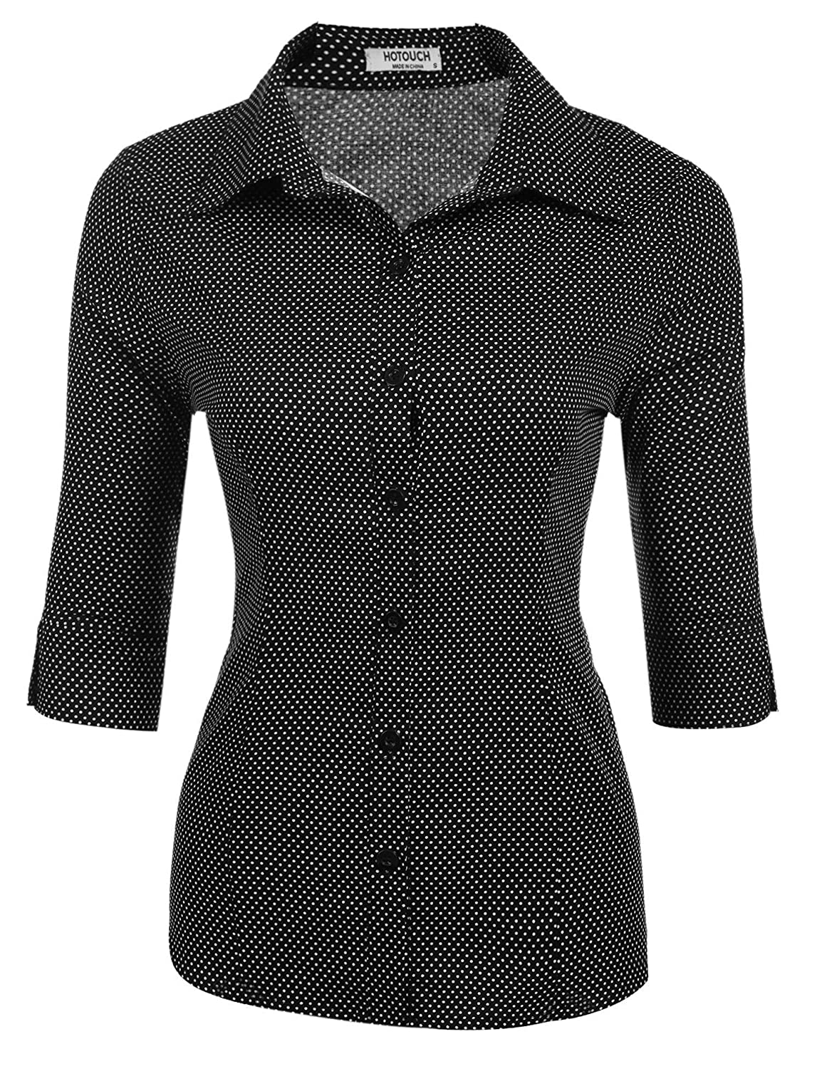 Black Polka Dot HOTOUCH Womens Long Sleeve Button Down Shirt with Stretch
