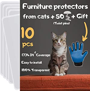 Cat Furniture Protector 10 Pack - Cat Scratch Furniture Protector, Furniture Protectors from Cats, Couch Protectors from Cats Scratching, Furniture Protection from Cat Scratching, Includes Cat Glove
