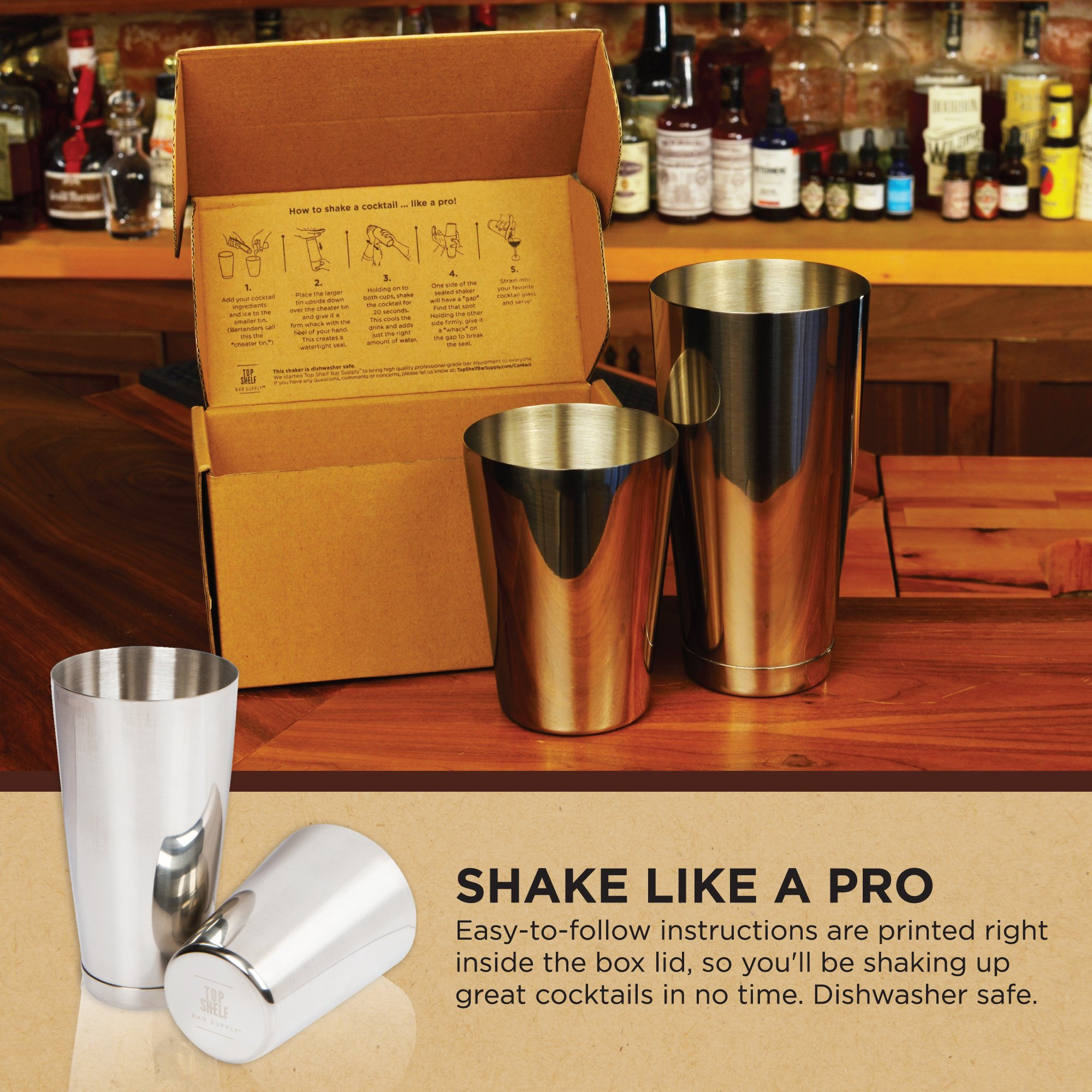 Stainless Steel Boston Shaker: 2-piece Set: 18oz Unweighted & 28oz Weighted Professional Bartender Cocktail Shaker by Top Shelf Bar Supply (Image #8)