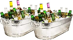 BREKX Colt Stainless-Steel Hammered Beverage Tubs, Rust-Resistant and Leak-Proof Ice and Drink Bucket with Handles, 15 Quarts, Set of 2
