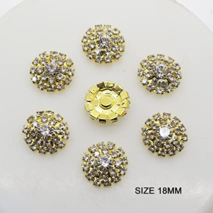33e196ede54 AngHui ShiPin 20pcs Gold Round Rhinestone Buckle Buttons Slider for Sew On  Silver Plated Alloy Rhinestone