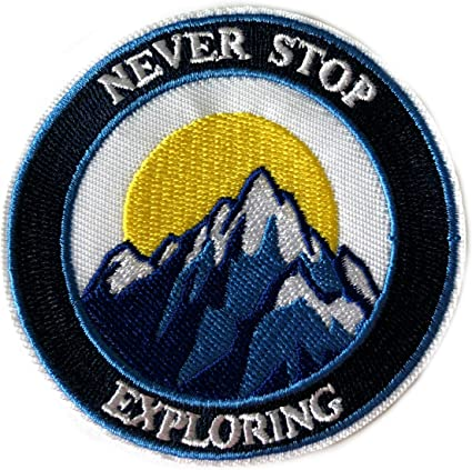 Never Stop Exploring Compass Embroidered Patch Iron Sew-On Badge DIY Applique