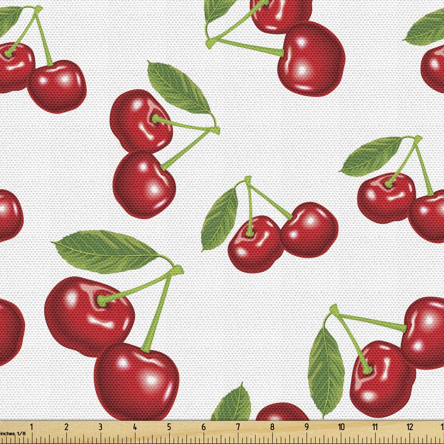 12 yard Red Cherry On Navy Blue Off White Cotton Fabric Red Cherry Fabric