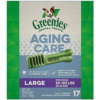 GREENIES Aging Care Large Natural Dog Dental Care Chews Oral Health Dog Treats, 27 oz. Pack (17 Treats)