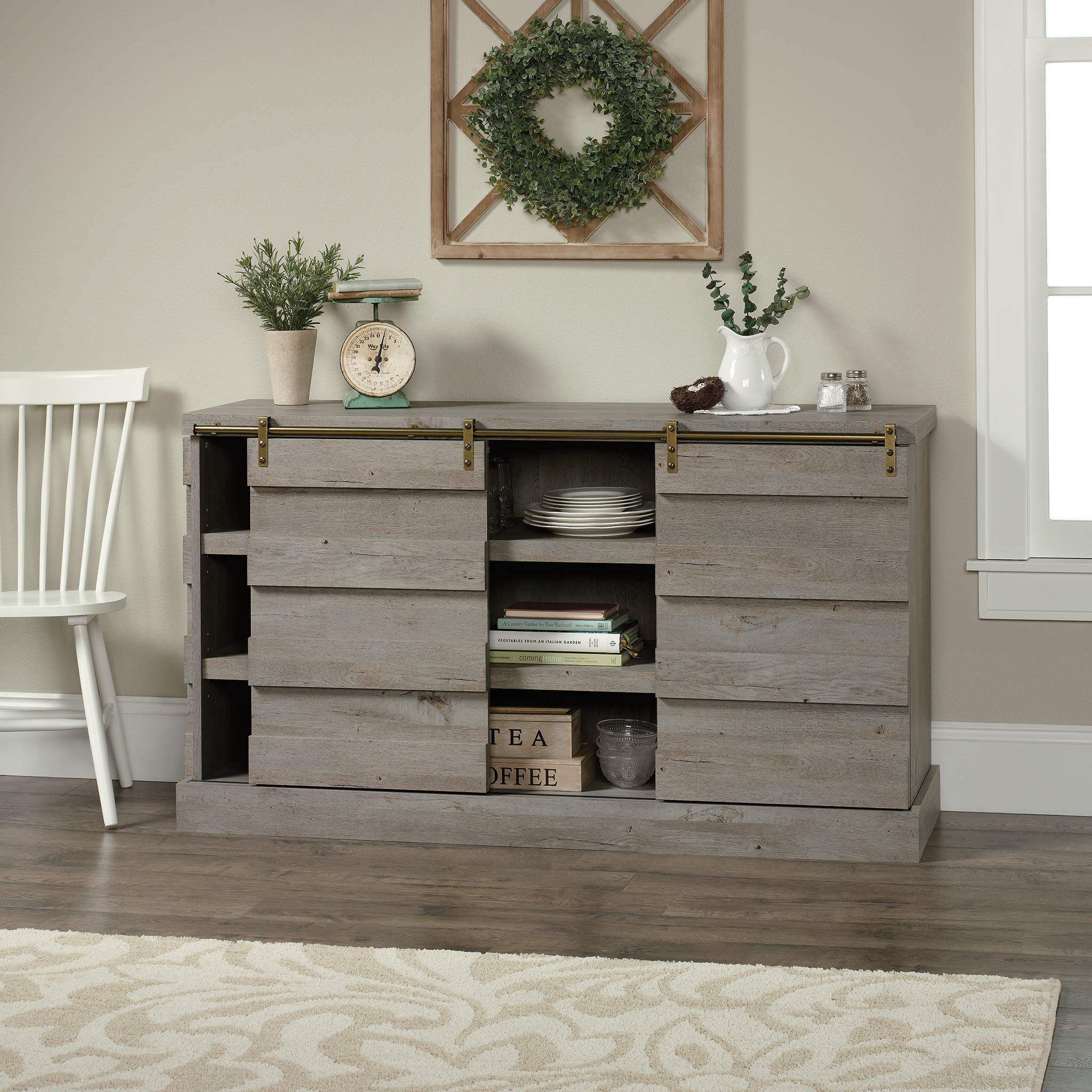 Sauder 422875 Cannery Bridge Credenza, Accommodates up to a 60'' TV Weighing 70 lbs. or Less, Mystic Oak Finish by Sauder (Image #3)