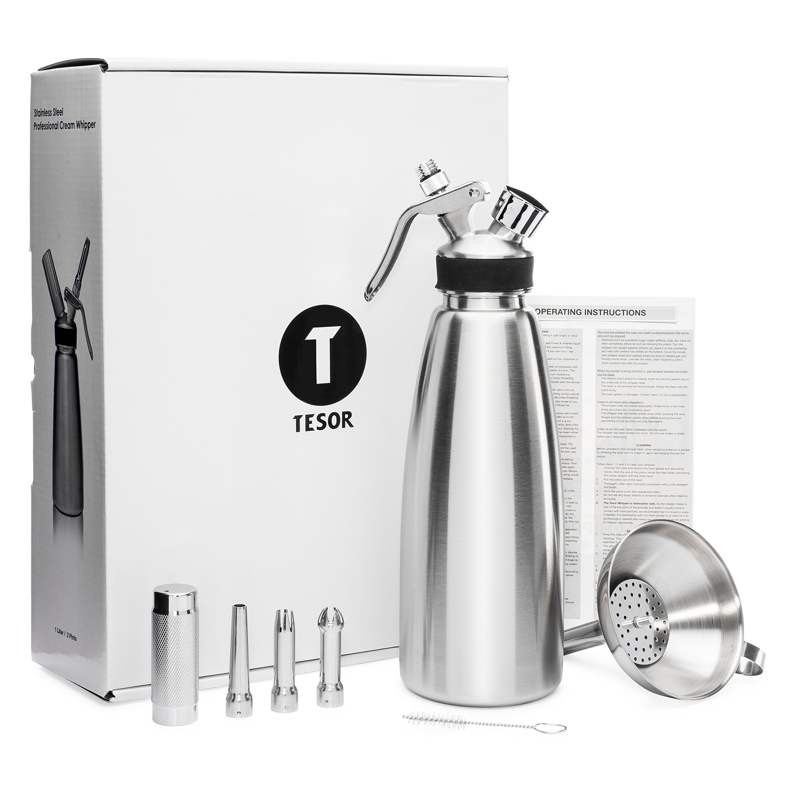 Tesor Stainless Steel Whipped Cream Dispenser Value Bundle With Three Tip Attachment Nozzles, Funnel and Strainer (1 Quart)