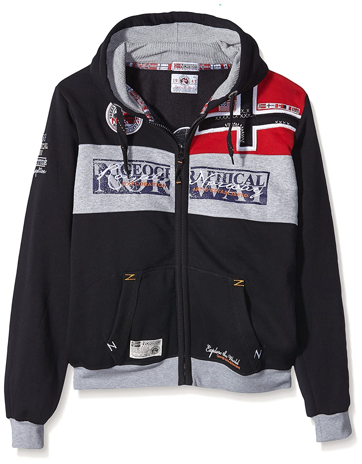 TALLA XXL. GEOGRAPHICAL NORWAY Hombre Diseñador Hoodie Capucha Chaqueta - FLYER -
