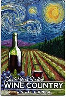 product image for Lantern Press Santa Ynez Valley, California, Wine Country, Vineyard, Starry Night 102070 (12x18 Aluminum Wall Sign, Metal Wall Decor Ready to Hang)