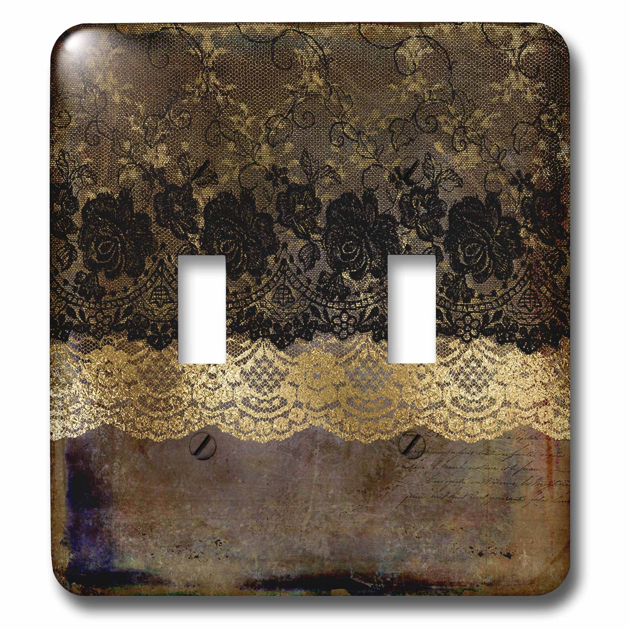 3dRose (lsp_263053_2) Double Toggle Switch (2) Black and Gold Floral Luxury Lace on Grunge Background by 3dRose (Image #1)