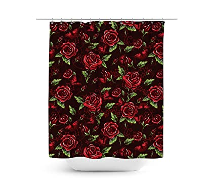 Rouge Rose avec épines Rideau de douche - Unique en 4 ...