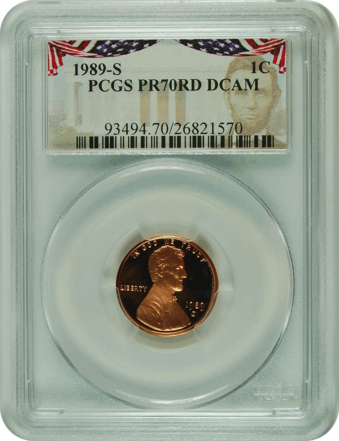 1989 Lincoln Red Presidential Label Penny PR-70 PCGS DCAM at