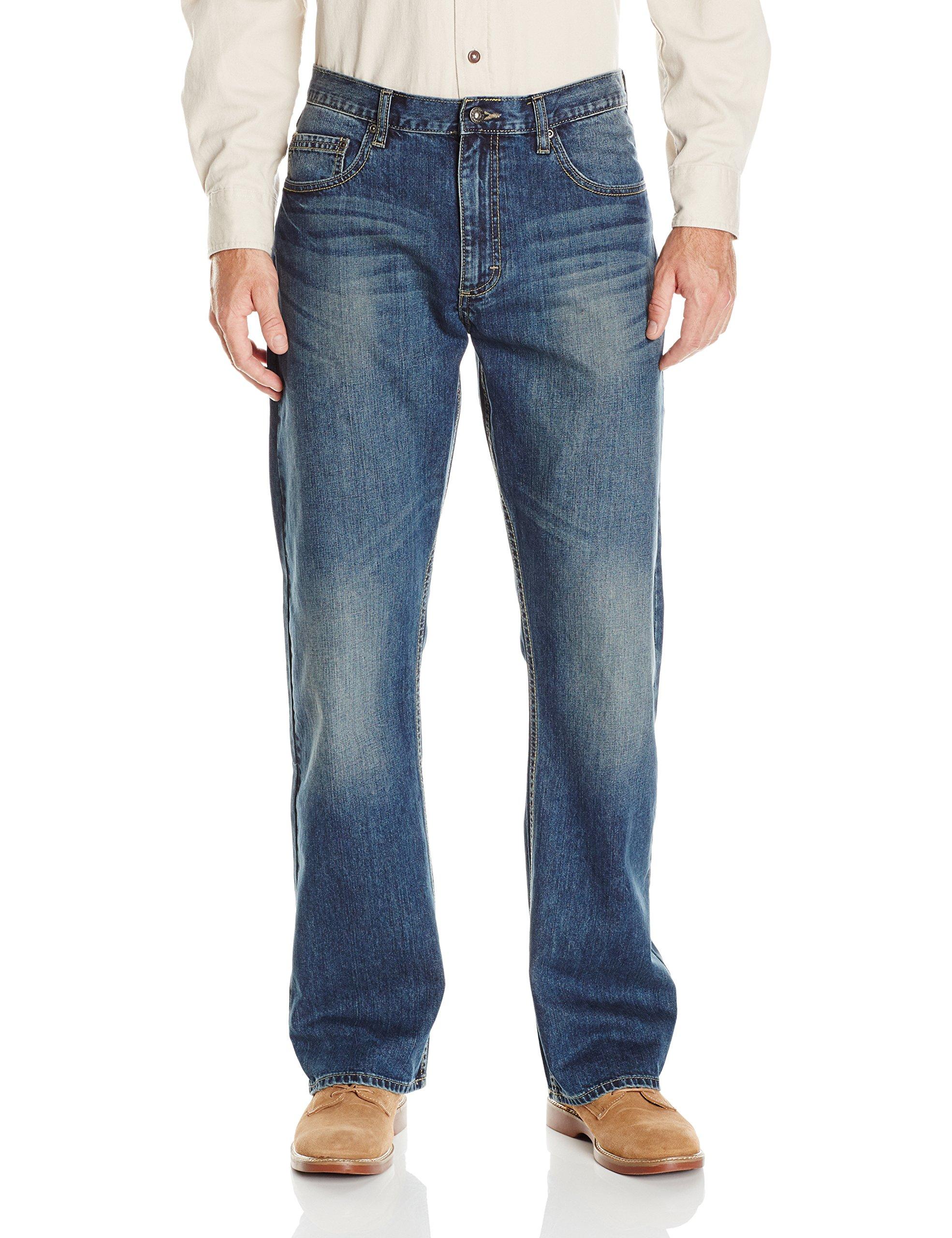 Wrangler Authentics Men's Premium Relaxed Fit Boot Cut Jean, Medium Indigo, 34x34