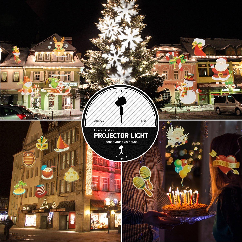 Amazon.com: Christmas Light Projector ,20pcs Switchable Pattern10W ...