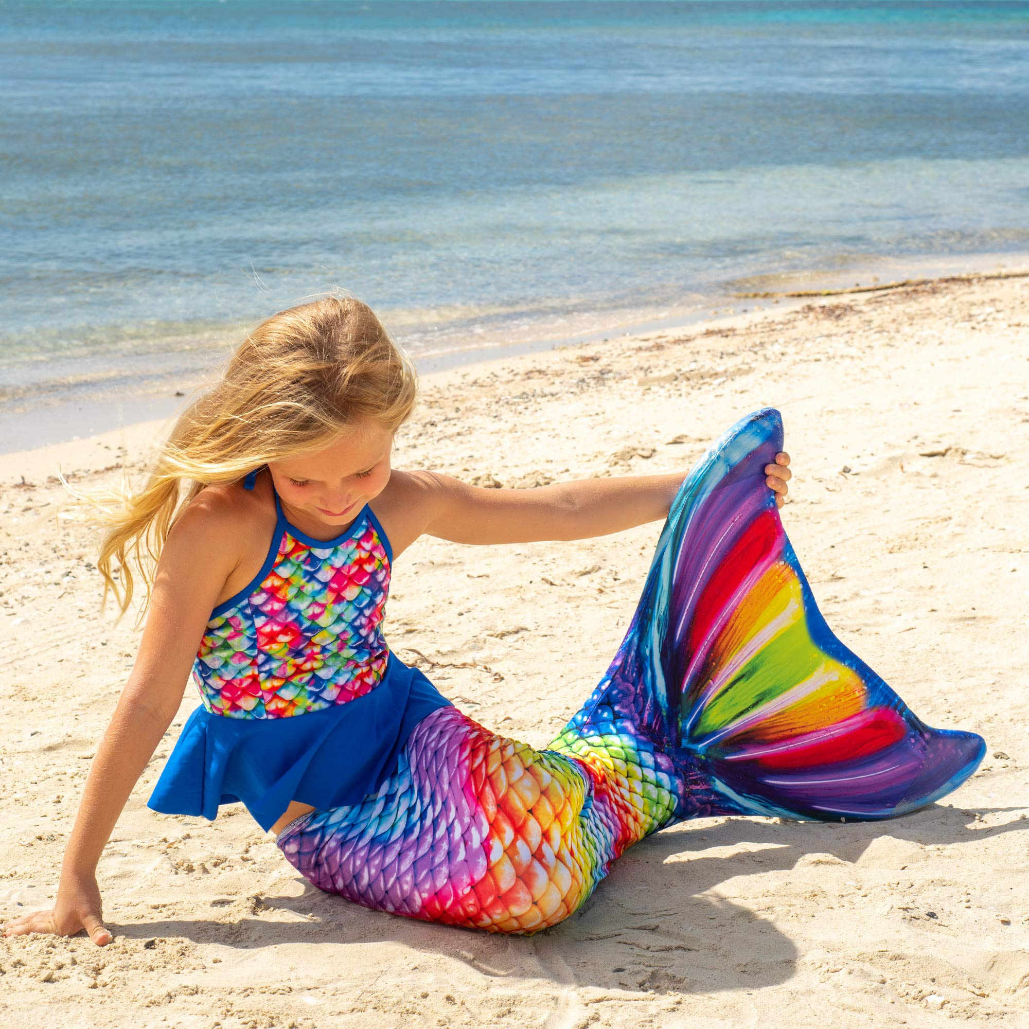 Fin Fun Mermaid Tail, Reinforced Tips, with Monofin, New Rainbow Reef, Adult XS by Fin Fun (Image #4)
