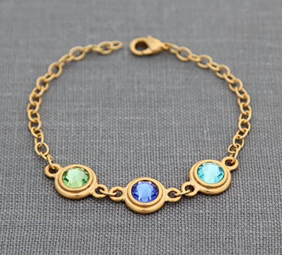 Amazon Com Gold Birthstone Bracelet For Mom Personalized Mother