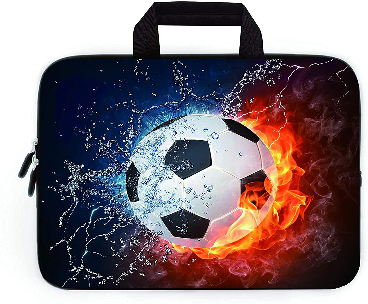 """11"""" 11.6"""" 12"""" 12.1"""" 12.5"""" inch Laptop Carrying Bag Chromebook Case Notebook Ultrabook Bag Tablet Cover Neoprene Sleeve Fit Apple MacBook Air Samsung Google Acer HP DELL Lenovo Asus(Football Fire)"""