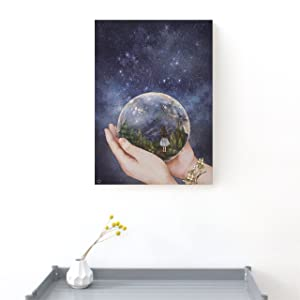 Illustrator Aeppol, Wooden Frame Canvas Artwork, A4 Size (Nightsky Snowball)