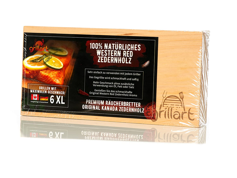Grillart - Set da 6tavolette in legno di cedro per grigliare, dimensione XL, 100% in legno di cedro rosso occidentale canadese naturale, per dare un sapore particolare alle vostre grigliate