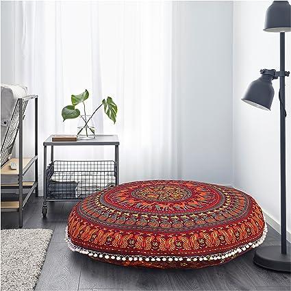 Gokul Handloom Large Round Pillow Cover Decorative Mandala Pillow Sham Camel And Peacock Designs Indian Bohemian Ottoman Poufs Cover Pom Pom Pillow
