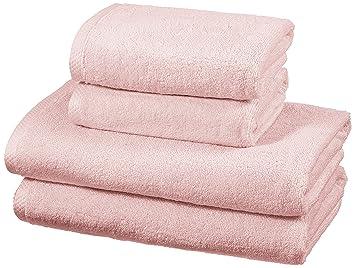 AmazonBasics - Juego de 4 toallas de secado rápido, 2 toallas de baño y 2 toallas de mano - Rosa claro: Amazon.es: Hogar