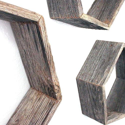 BarnwoodUSA Rustic Shelves, Hexagon Floating Wood Shadowbox, Home Decor, Set of 3 Natural Weathered Gray