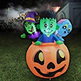 5 FT Tall Halloween Inflatable Three Characters on Pumpkin Inflatable Yard Decoration with Build-in LEDs Blow Up…