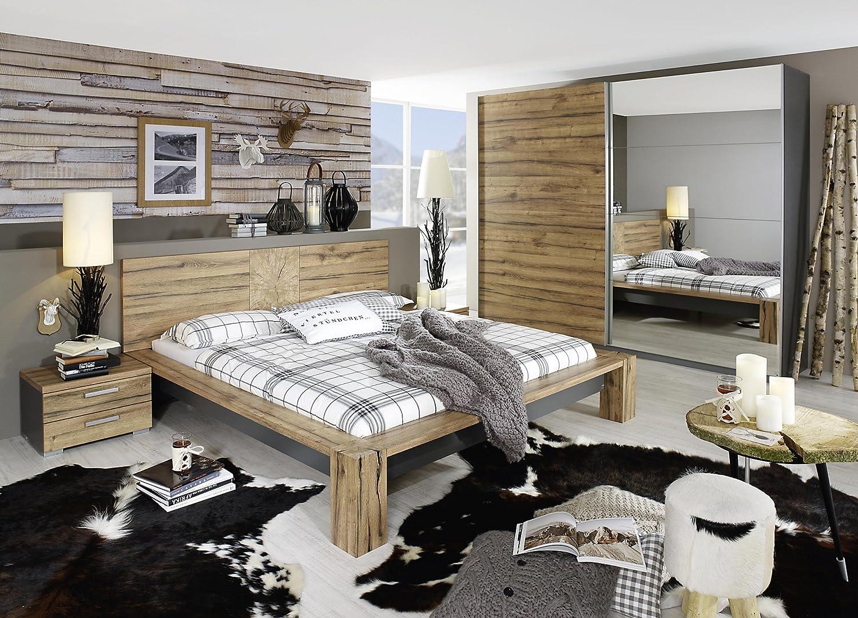 Schlafzimmer mit Bett 180 x 200 cm graphit/ Wildeiche Woody 127-00063