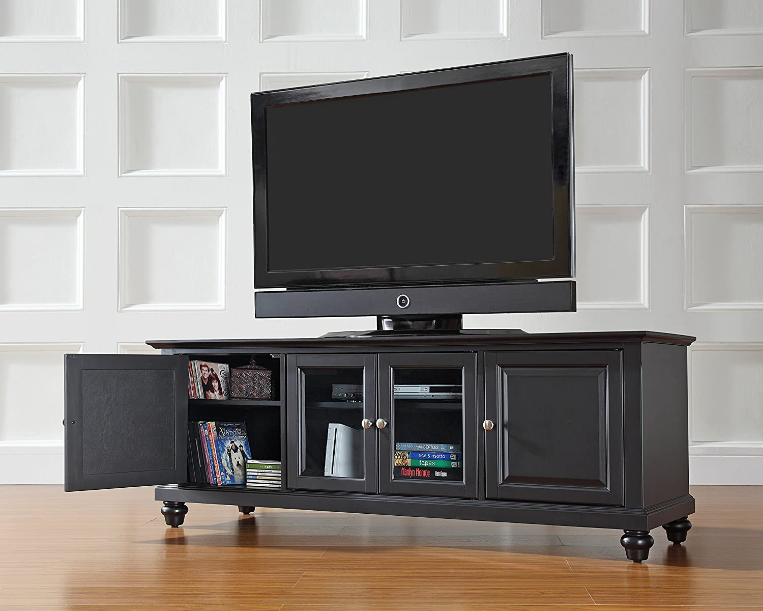 Amazon: Crosley Furniture Cambridge 60inch Lowprofile Tv Stand   Black: Kitchen & Dining