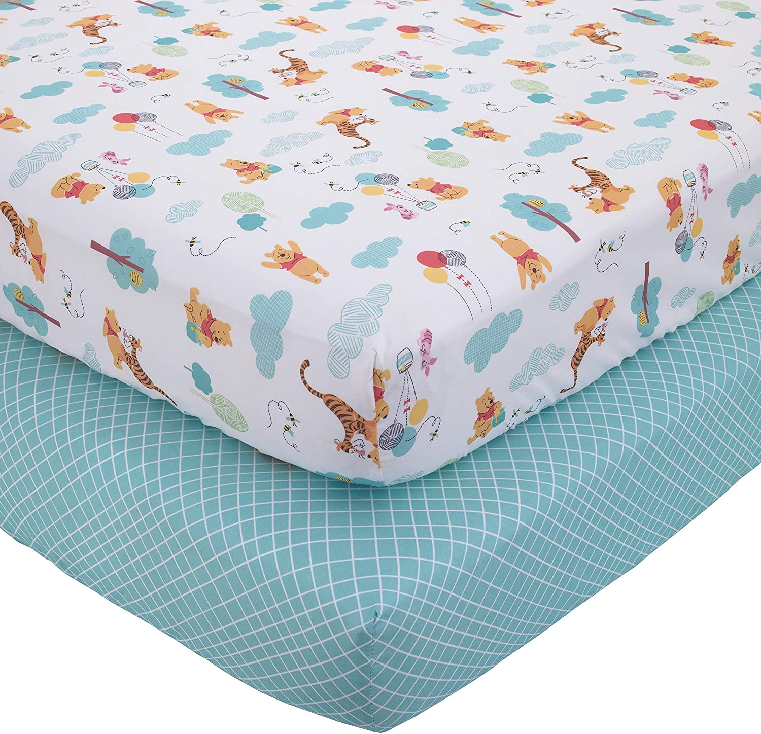 Aqua//Yellow//Gold Disney Winnie The Pooh First Best Friends 2 Piece Fitted Crib Sheets
