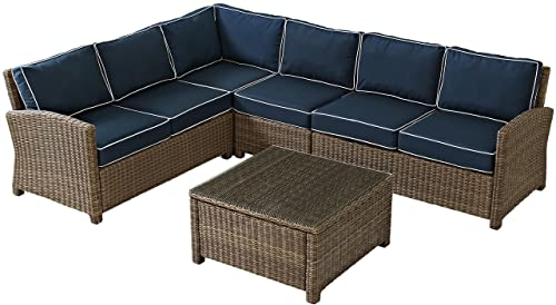 Crosley Furniture Bradenton 5-Piece Outdoor Wicker Seating Set with Cushions – Navy