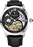 Stührling Original Mens Stainless Steel Automatic Watch, Black Skeleton Dial, Dual Time, AM/PM Sun Moon, Black Leather Band, 571 Series
