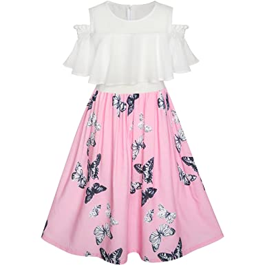 3961b031243cd Sunny Fashion Robe Fille Mousseline de Soie Papillon Ébouriffer du Froid  Épaule Blanc Rose 7 Ans