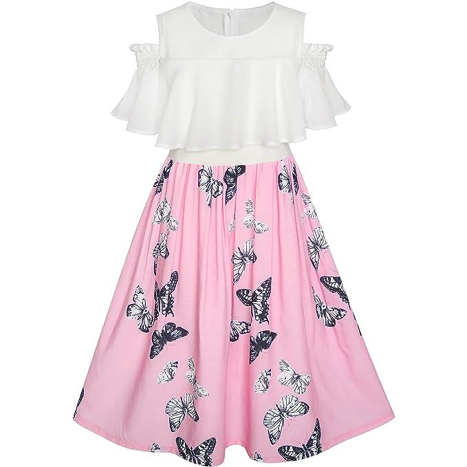 LG81 Sunny Fashion Vestido para niña Gasa Mariposa Volante fruncido Frío Hombro Blanco Rosa 7 años