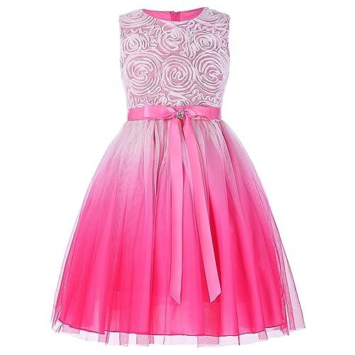 GRACE KARIN Vestido de Fiesta para Niñas Vestido sin Mangas Flores de Dama de Honor Boda