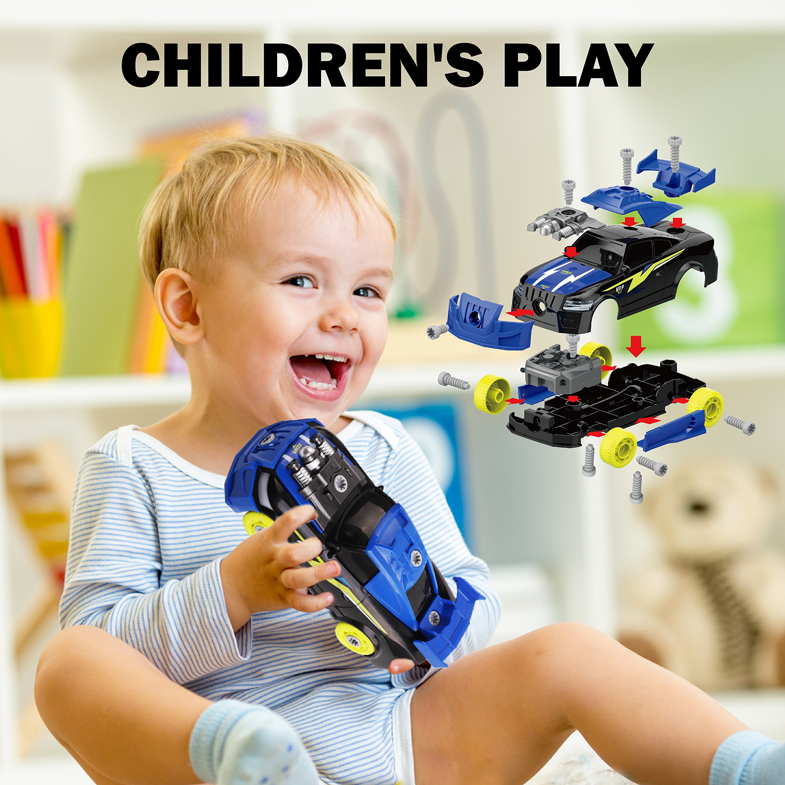 Maxxrace Take Apart Racing Car, STEM Toys 26 Pieces Assembly Car Toys with Drill Tool, Lights and Sounds, Gifts for Kids Aged 3+ by Maxxrace (Image #7)