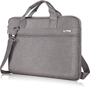 Voova Laptop Sleeve Shoulder Bag 14-15.6 Inch Carry Case, Upgrade Computer Messenger Briefcase Compatible with MacBook Pro 16 15, Surface Book 2 15, Asus Acer Dell Chormebook with Organizer, Khaki Ash