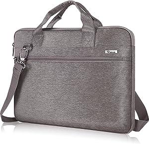 Voova Laptop Sleeve Shoulder Bag 17 17.3 Inch Carry Case, Upgrade Computer Messenger Bag Compatible with Razer Blade Pro 17, Lenovo Asus Acer Dell Hp Notebook Briefcase with Organizer Pocket,Khaki Ash