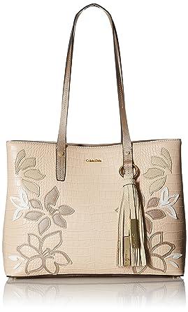 e196d42280 Amazon.com: Calvin Klein womens Calvin Klein Maggie Exotic Saffiano  Applique Leather East/West Tote, bare, One Size: Clothing